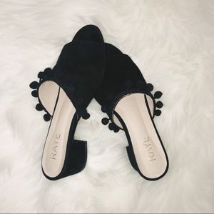 RAYE Camille Pommed Peeptoe Mules Slide Sandals
